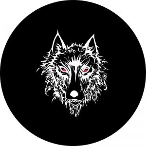 Wolf with Red Eyes Tire Cover