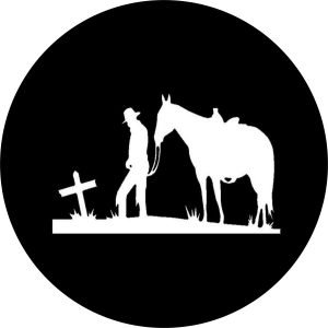 Kneeling Cowboy at Cross Tire Cover
