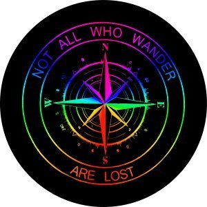 Rainbow Compass Tire Cover