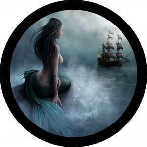 Mermaid and Pirate Ship Tire Cover
