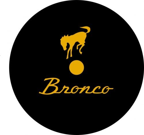 Bronco Tire Cover Black with Gold Image