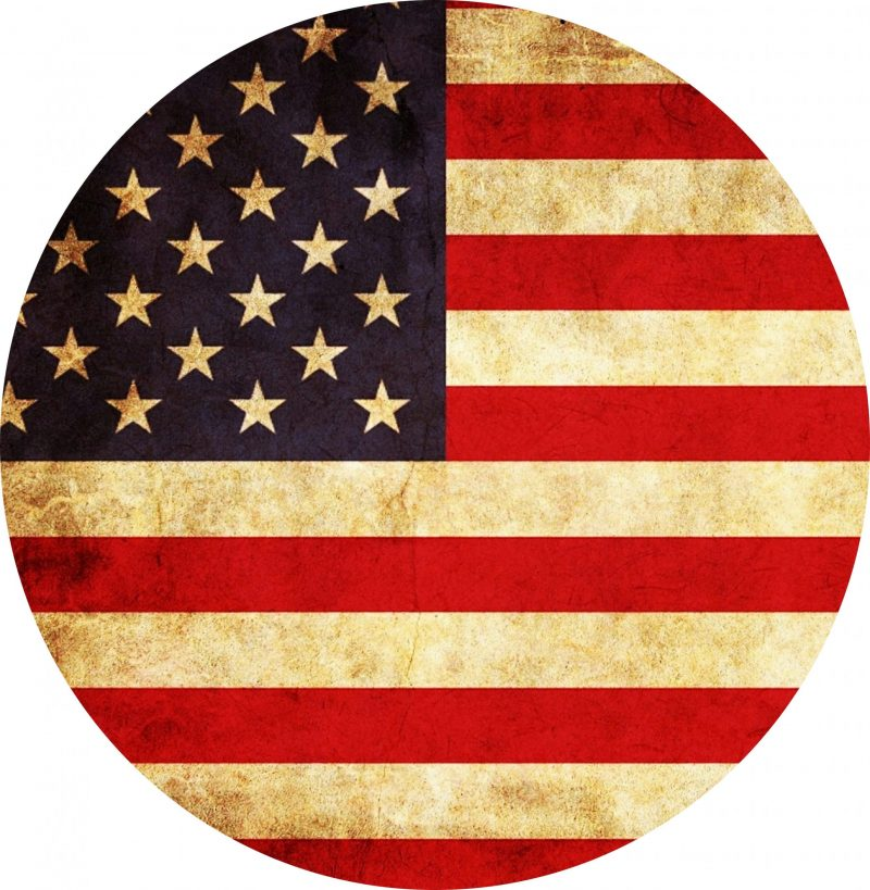 vintage us flag Tire Cover