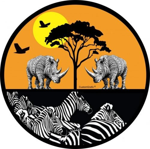 Zebra & Rhino images tire cover.