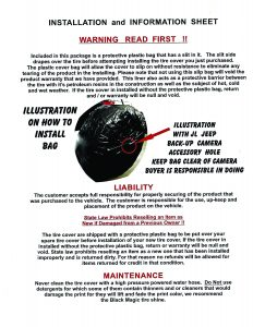 Tire Cover Instalation and Information Page