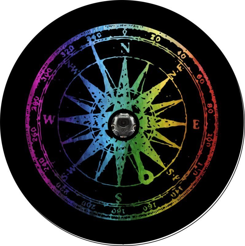 Rainbow Distress Compass Back Up Camera Tire Cover