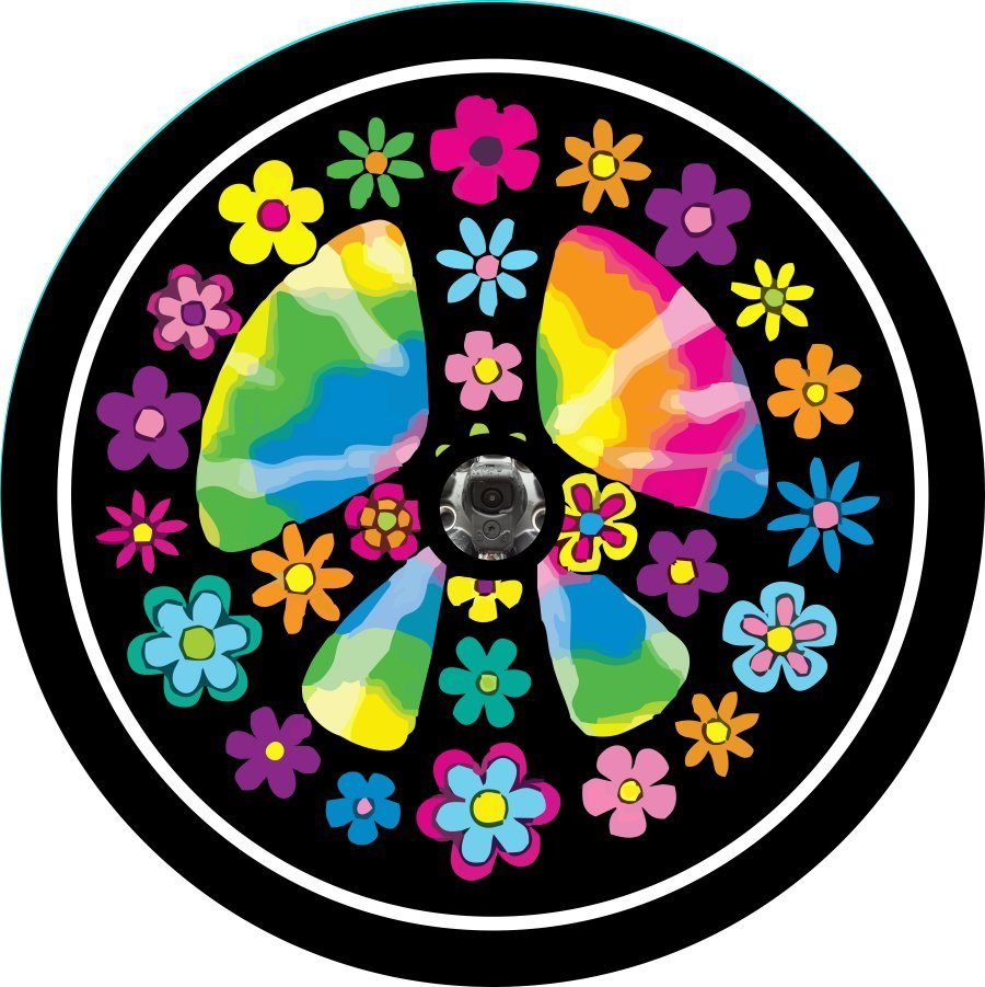 Flower Peace Sign Back Up Camera Tire Cover
