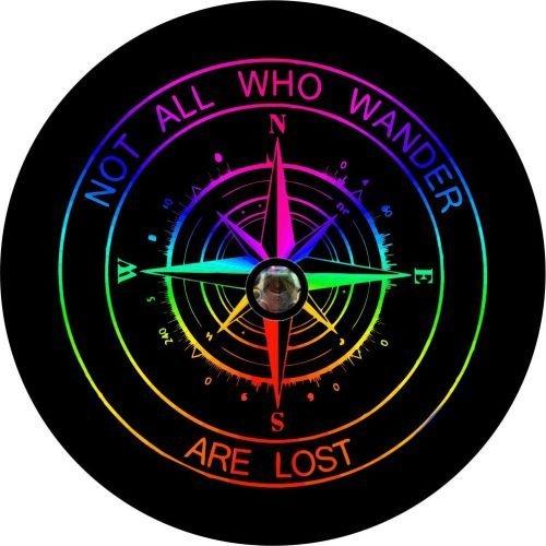 Rainbow Compass Back Up Camera Tire Cover
