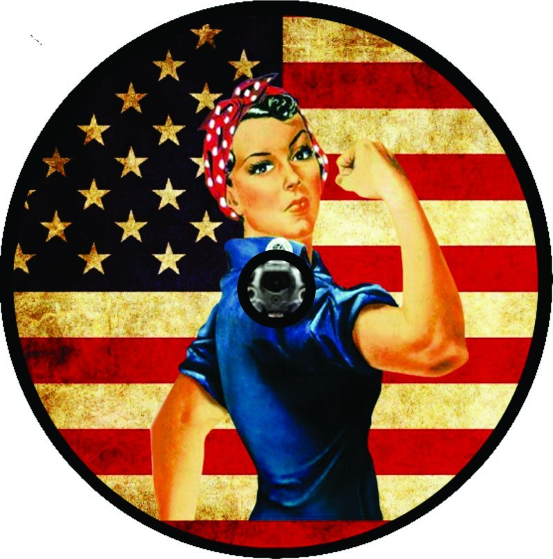 Rosie Flag Tire Cover